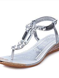 Zapatos de mujer Purpurina Tacón Cuña Cuñas/Innovador/Tira en el Tobillo Sandalias Exterior/Casual Plata/Oro