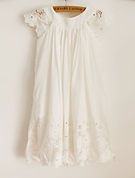 Sheath Knee-length Flower Girl Dress - Cotton/Lace Short Sleeve