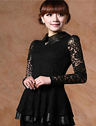 Women's Casual / Lace Patchwork / Lace Dress , Shirt Collar Mini Lace