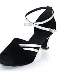 Non Customizable Women's Dance Shoes Salsa Flocking Cuban Heel Black