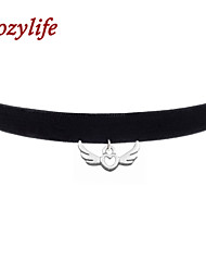 "Cozylife 3/8"" Girls Black Velvet Gothic Collar Vintage Choker Necklace with Angel Wing Pendant"