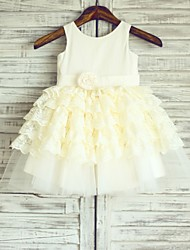 Princess Knee-length Flower Girl Dress - Cotton Lace Tulle Scoop with Flower(s) Sash / Ribbon