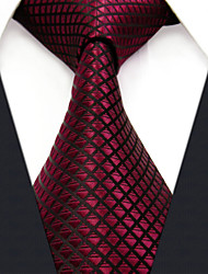 Men's Business Checked Burgundy Ties