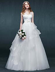 A-line Wedding Dress Floor-length V-neck Tulle with