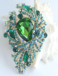 Gorgeous 3.74 Inch Gold-tone Turquoise Green Rhinestone Crystal Flower Brooch Pendant Art Deco