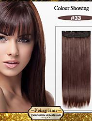 5 clips de largo castaño rojizo recto (# 33) pinza de pelo sintético en extensiones de cabello para damas