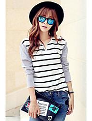 Women's Striped White Blouse , V Neck Long Sleeve