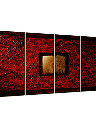 VISUAL STAR®Handmade 4 Panel Oil Painting Abstract Canvas Painting Ready to Hang