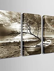 Прямоугольный Модерн Настенные часы , Прочее Холст 30 x 60cm(12inchx24inch)x3pcs /40 x 80cm(16inchx32inch)x3pcs