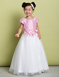 A-line Floor-length Flower Girl Dress - Satin / Tulle Short Sleeve Scoop with Flower(s)