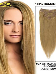 8A 100% Indian Remy Human Hair Straight Clip In Extensions 14-34 Inch Remy Human Hair Weaves Weft 100g set