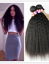 3Pcs/Lot Peruvian Virgin Kinky Straight Hair Extension Coarse Yaki Virgin Hair Yaki straight