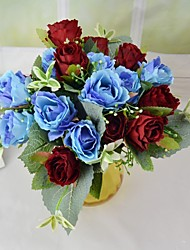 Romantic 9 Heads Silk Rose Bouquet with Leaf for Home Party Decoration