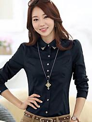 Women's Solid Blue/Red/White/Gray Shirt , Shirt Collar Long Sleeve Beaded