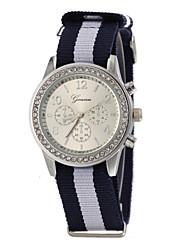 plata brillo reloj de pulsera de cuarzo de banda de tela de línea de las mujeres