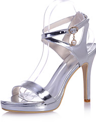 Women's Shoes Patent Leather Stiletto Heel Open Toe Sandals Wedding/Party & Evening Blue/Silver/Gold