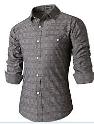 Men's Casual Shirt,Others Long Sleeve Gray