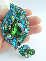 Gorgeous 4.33 Inch Gold-tone Turquoise Green Rhinestone Crystal Flower Brooch Women Jewelry Art Deco
