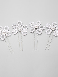 Women's/Flower Girl's Crystal/Alloy/Imitation Pearl Headpiece - Wedding/Special Occasion Hair Pin 4 Pieces