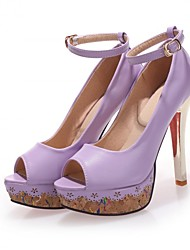Women's Shoes Faux Leather Stiletto Heel Peep Toe Sandals Office & Career/Casual Black/Pink/Purple/White