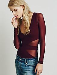 Tee-shirt Aux femmes,Couleur Pleine / Mosaïque Décontracté / Quotidien simple Automne Manches Longues V Profond Rouge / NoirNylon /