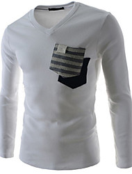 Men's Double Pockets Design Fashion Cultivating Long-sleeved T-shirt