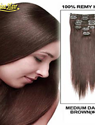 Clip In On Hair Extensions 14-34 Inch 7Pcs Set 100g Clip in Remy Human 100% Human Hair Extension Multiple Colors