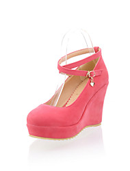 Women's Shoes Wedge Heel Wedges/Ankle Strap/Round Toe/Closed Toe Pumps/Heels Party & Evening/Dress Black/Pink/Beige