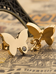 Women's Fashion Elegant Gold Plated Stainless Steel Butterfly Earring with Rhinestone