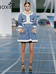 nuoxin® Women's Round Collar Sleeveless Elegant Dress+Tall Waist Fashion Short Coat Suits