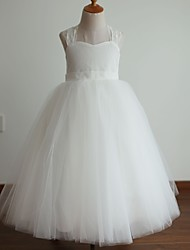 Princess Ivory Floor-length Flower Girl Dress - Lace/Tulle Sleeveless