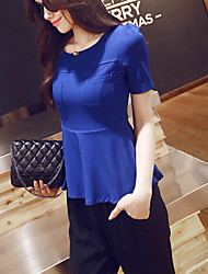 Women's Solid Blue Blouse , Round Neck Short Sleeve