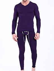 Men's Long Sleeve Vest Casual Pure,Thermal TOP Underwear