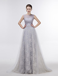 Dress Sheath/Column Jewel Sweep/Brush Train Lace / Tulle