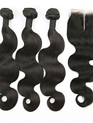 3Pcs Lot Unprocessed  Brazilian Virgin Hair Body Wave  Human Hair Weaves/Weaving with 4*4  Lace Closure
