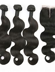3pcs viel unverarbeitete brasilianische reine Haarkörperwelle Menschenhaar spinnt / Weben mit 4 * 4 Spitzeschliessen
