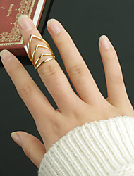 Women Punk Style Exaggerated Multilayer V Shaped Joint Ring