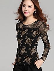Women's Floral Blue/Black/Purple Blouse , Round Neck Long Sleeve