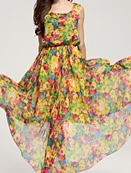 Women's Multi-color Dress , Print/Party Sleeveless