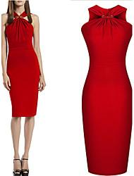 Women's V-Neck Ruched Dresses , Cotton Blend Bodycon Sleeveless gorgeous