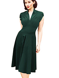 Women's Vintage V Neck Dress , Knitwear/Elastic Knee-length Short Sleeve