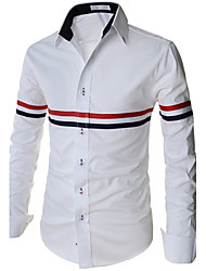 Men's Long Sleeve Shirt , Cotton Casual/Work/Formal Striped