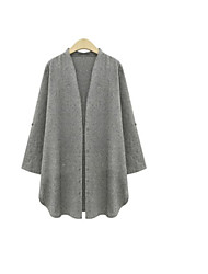 Women's Solid Gray Casual/Plus Sizes Stand ¾ Sleeve Button
