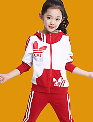 Girl's Sports Pants Zipper Jacket Clothing Set , Winter/Fall