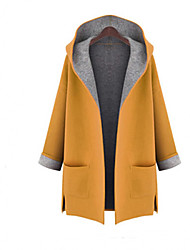 Women's Plus Size Trench Coat,Color Block Hooded Long Sleeve Fall Red / Yellow Wool / Others Medium