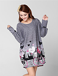 Women's Print Gray Dress , Casual / Print Round Neck Long Sleeve