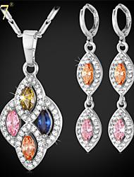 U7® Women's Fashion Teardrop Earrings Gold/Platinum PlatedPink/Blue/Green/Champagne Cubic Zirconia Pendant Necklace
