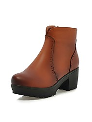 Women's Shoes Chunky Heel Fashion Boots / Round Toe/Zipper/Dress / Casual Black / Brown
