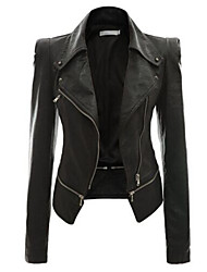 Women's Casual/Daily Going out Street chic Spring Fall Leather Jackets,Solid Long Sleeve Beige Black Green