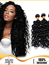 3pcs Brazilian Hair Bundles Weaves Jet Black Deep Curl Hair Weaves 100% Unprocessed Brazilian Human Hair Weft